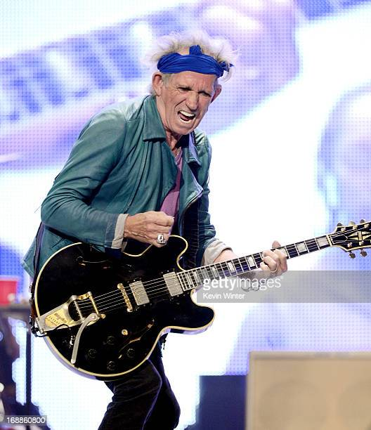 Musician Keith Richards of The Rolling Stones performs at The Honda Center on May 15 2013 in Anaheim California