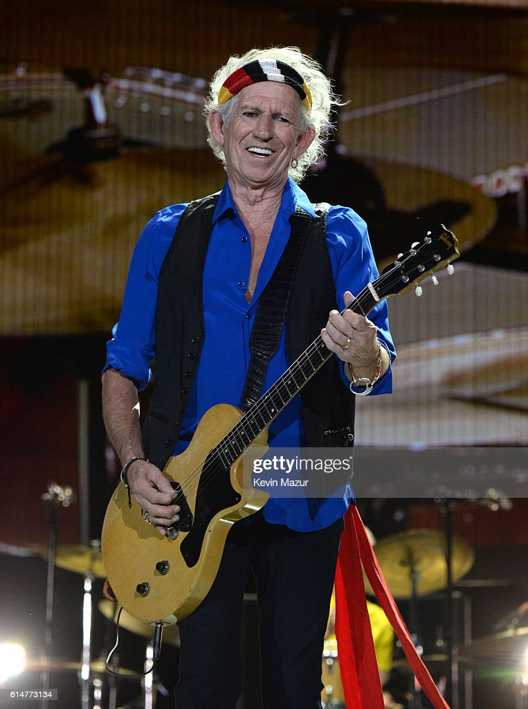 Musician Keith Richards of The Rolling Stones performs during Desert Trip at The Empire Polo Club on October 14, 2016 in Indio, California.