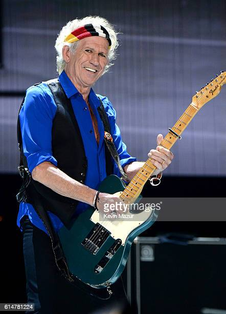 Musician Keith Richards of The Rolling Stones performs during Desert Trip at The Empire Polo Club on October 14 2016 in Indio California