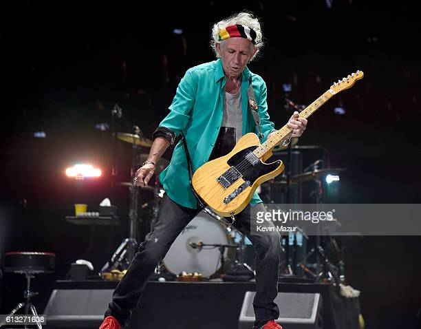 Musician Keith Richards of The Rolling Stones performs onstage during Desert Trip at The Empire Polo Club on October 7 2016 in Indio California