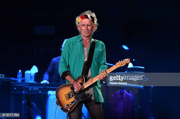 Musician Keith Richards of The Rolling Stones performs onstage during Desert Trip at the Empire Polo Field on October 7 2016 in Indio California