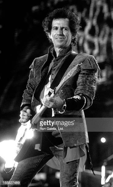 Musician Keith Richards performs at Rolling Stones Voodoo Lounge Tour Concert on October 21 1994 at the Rose Bowl in Pasadena California