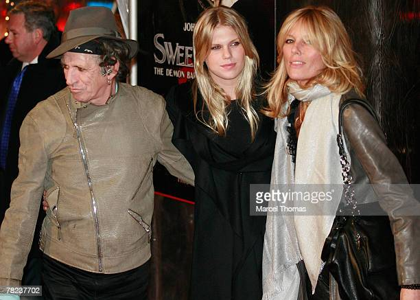 Musician Keith Richardswife Patti Hansen and daughter Alexandra Richards attends the New York Premiere of the movie Sweeney Todd The Demon Barber Of...