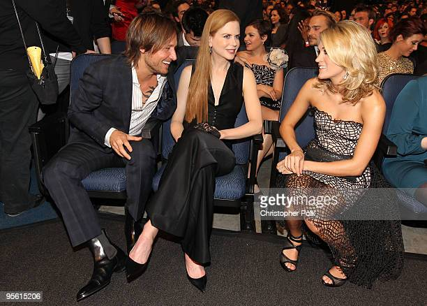 Musician Keith Urban actress Nicole Kidman and singer Carrie Underwood in the audience during the People's Choice Awards 2010 held at Nokia Theatre...
