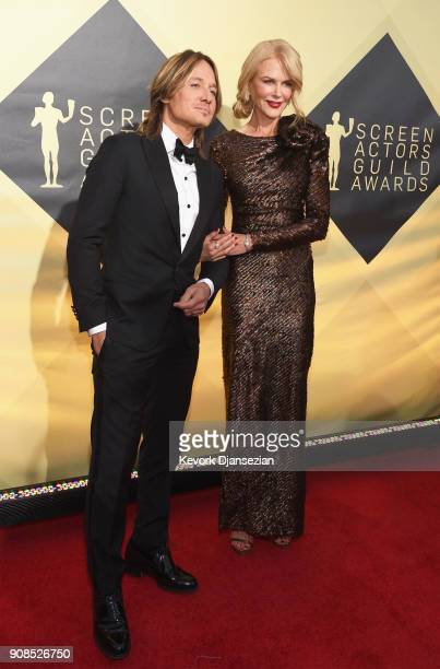 Musician Keith Urban and actor Nicole Kidman attend the 24th Annual Screen ActorsGuild Awards at The Shrine Auditorium on January 21 2018 in Los...