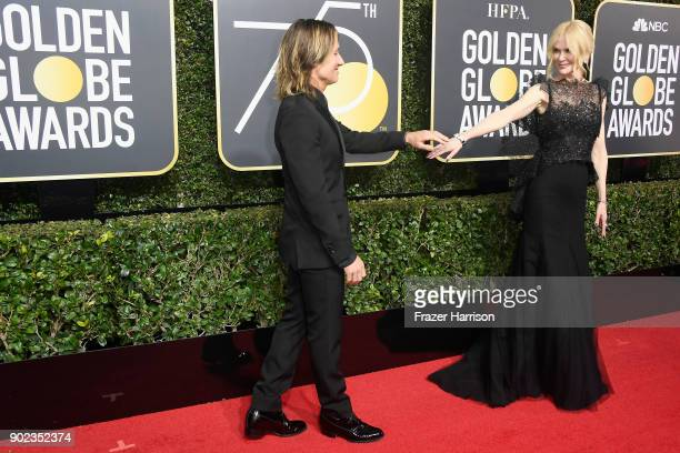 Musician Keith Urban and actor Nicole Kidman attend The 75th Annual Golden Globe Awards at The Beverly Hilton Hotel on January 7 2018 in Beverly...