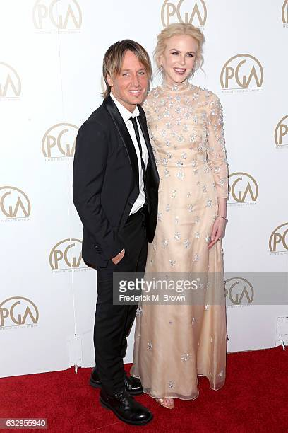 Musician Keith Urban and actress Nicole Kidman attend the 28th Annual Producers Guild Awards at The Beverly Hilton Hotel on January 28 2017 in...