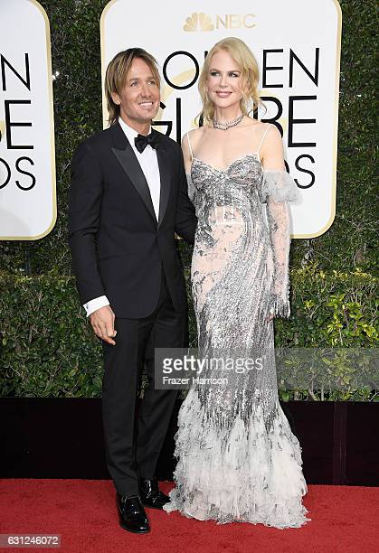 Musician Keith Urban and actress Nicole Kidman attend the 74th Annual Golden Globe Awards at The Beverly Hilton Hotel on January 8 2017 in Beverly...