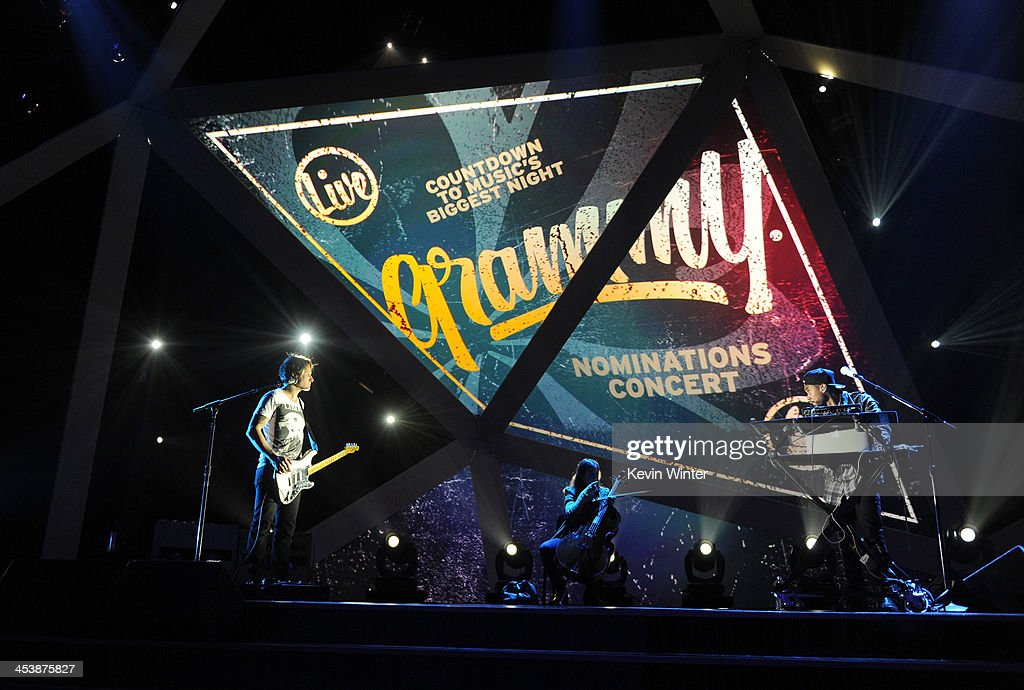 Musician Keith Urban (L) and recording artist Miguel perform onstage during the rehearsals for The GRAMMY Nominations Concert Live!! Countdown to Music's Biggest Night at Nokia Theatre L.A. Live on December 5, 2013 in Los Angeles, California.