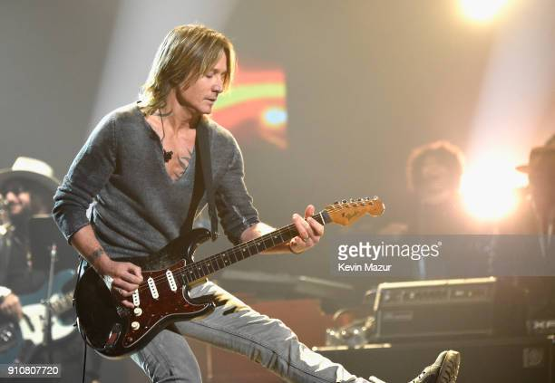 Musician Keith Urban performs onstage at MusiCares Person of the Year honoring Fleetwood Mac at Radio City Music Hall on January 26 2018 in New York...