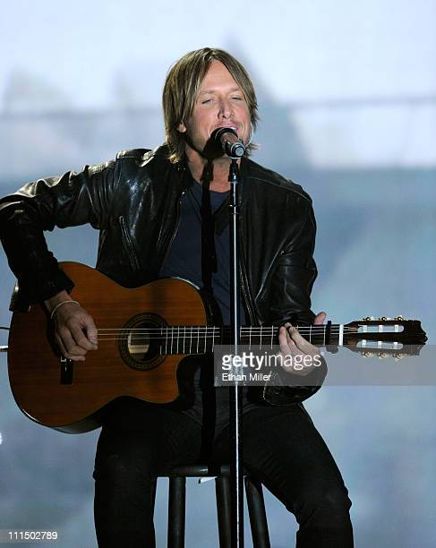 Musician Keith Urban performs onstage at the 46th Annual Academy of Country Music Awards held at the MGM Grand Garden Arena on April 3 2011 in Las...