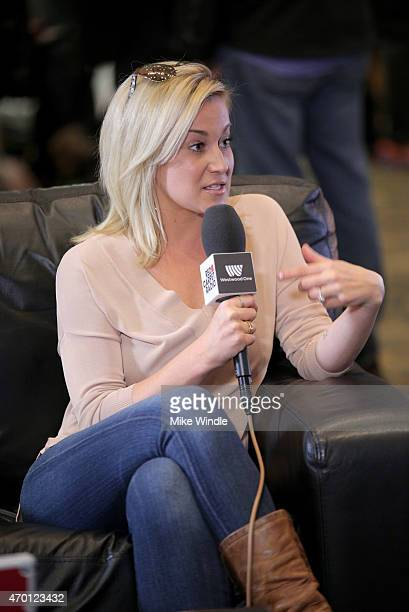 Musician Kellie Pickler speaks at the Red Carpet Radio presented by Westwood One Radio during the 50th Academy Of Country Music Awards at Arlington...
