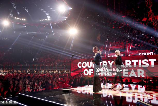Musician Kelsea Ballerini speaks onstage at the 2017 iHeartRadio Music Awards which broadcast live on Turner's TBS, TNT, and truTV at The Forum on...