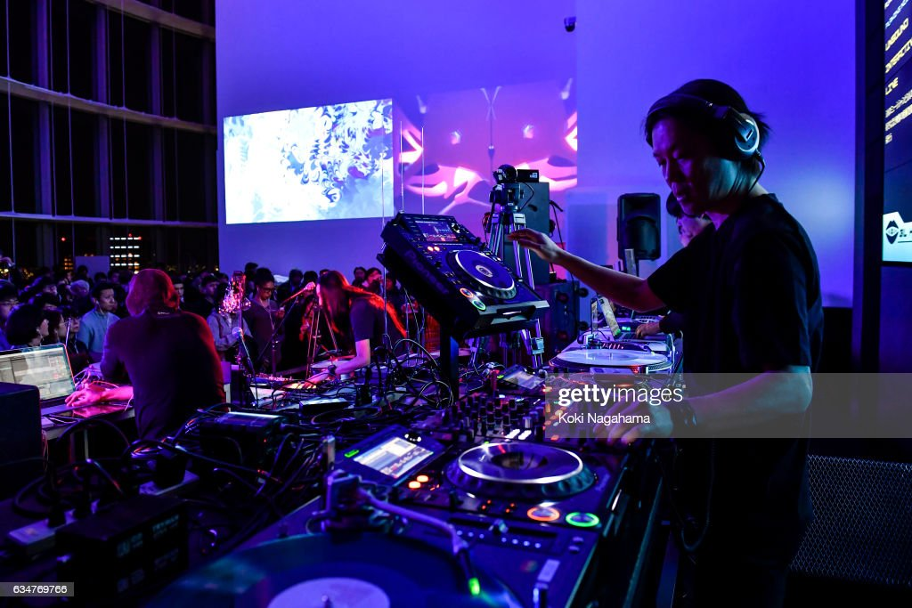Musician Ken Ishii performs during UNSOUND INTERACTIVE LIVE at Roppongi Hills MAT LAB Mori Tower 52F, TOKYO CITY VIEW on February 11, 2017 in Tokyo, Japan.