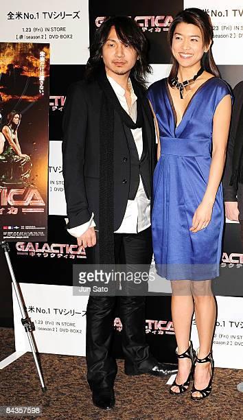 Musician Ken of L'ArcenCiel and actress Grace Park attend TV Drama series Galactica special screening at Shinjuku Wald 9 on January 19 2008 in Tokyo...