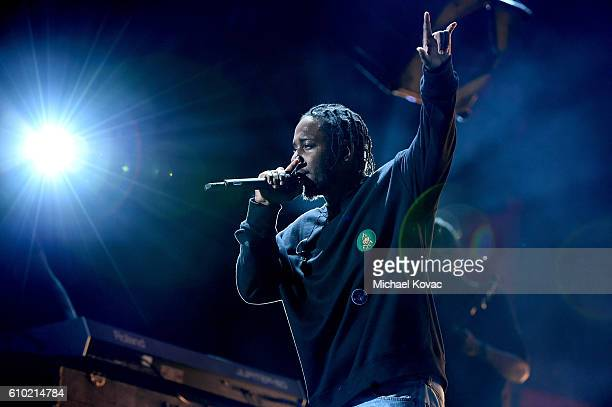 Musician Kendrick Lamar performs onstage at the 2016 Global Citizen Festival to End Extreme Poverty by 2030 at Central Park on September 24 2016 in...