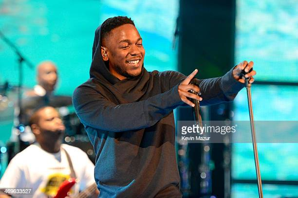 Musician Kendrick Lamar performs onstage at the State Farm All-Star Saturday Night during the NBA All-Star Weekend 2014 at The Smoothie King Center...