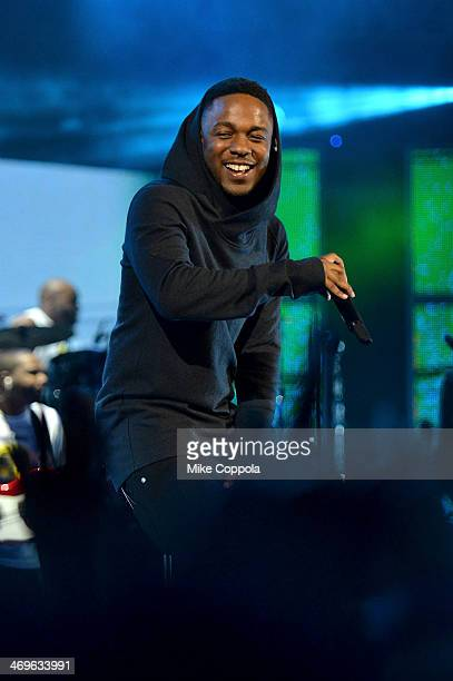 Musician Kendrick Lamar performs onstage at the State Farm AllStar Saturday Night during the NBA AllStar Weekend 2014 at The Smoothie King Center on...