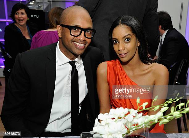 Musician Kenna and actress Azie Tesfai attend Vertu and Gelila and Wolfgang Puck Celebrate the Oscars and Dream for Africa Foundation at CUT on...
