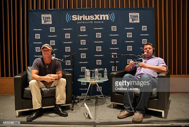 Musician Kenny Chesney answers questions and SiriusXM host Storme Warren moderates during a QA session as part of SiriusXM's Town Hall series at...