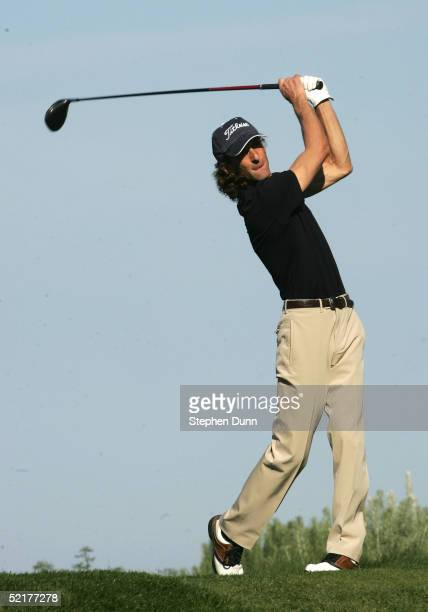 Musician Kenny G hits his tee shot on the sixth hole during the first round of the ATT Pebble Beach National ProAm on February 10 2005 at Spyglass...