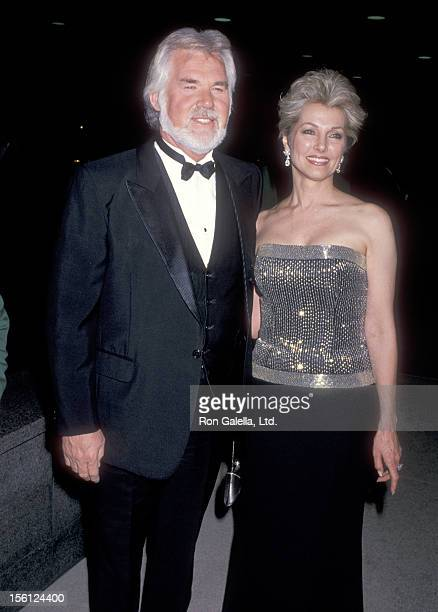 Musician Kenny Rogers and wife Marianne Gordon on February 23 1989 at Bob Hope Cultural Center's McCallum Theatre in Palm Desert California