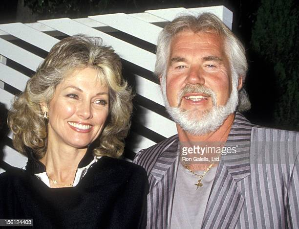 Musician Kenny Rogers and wife Marianne Gordon on May 26 1987 dining at Spago in West Hollywood California