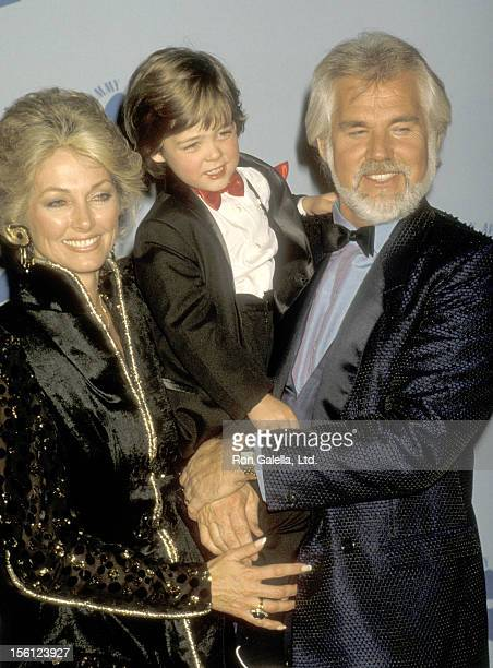 Musician Kenny Rogers wife Marianne Gordon and son Christopher Gordon attend the 28th Annual Grammy Awards on February 25 1986 at Shrine Auditorium...