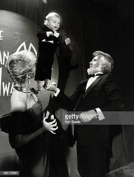 Musician Kenny Rogers wife Marianne Gordon and son Christopher Rogers attending 10th Annual American Music Awards on January 17 1983 at the Shrine...