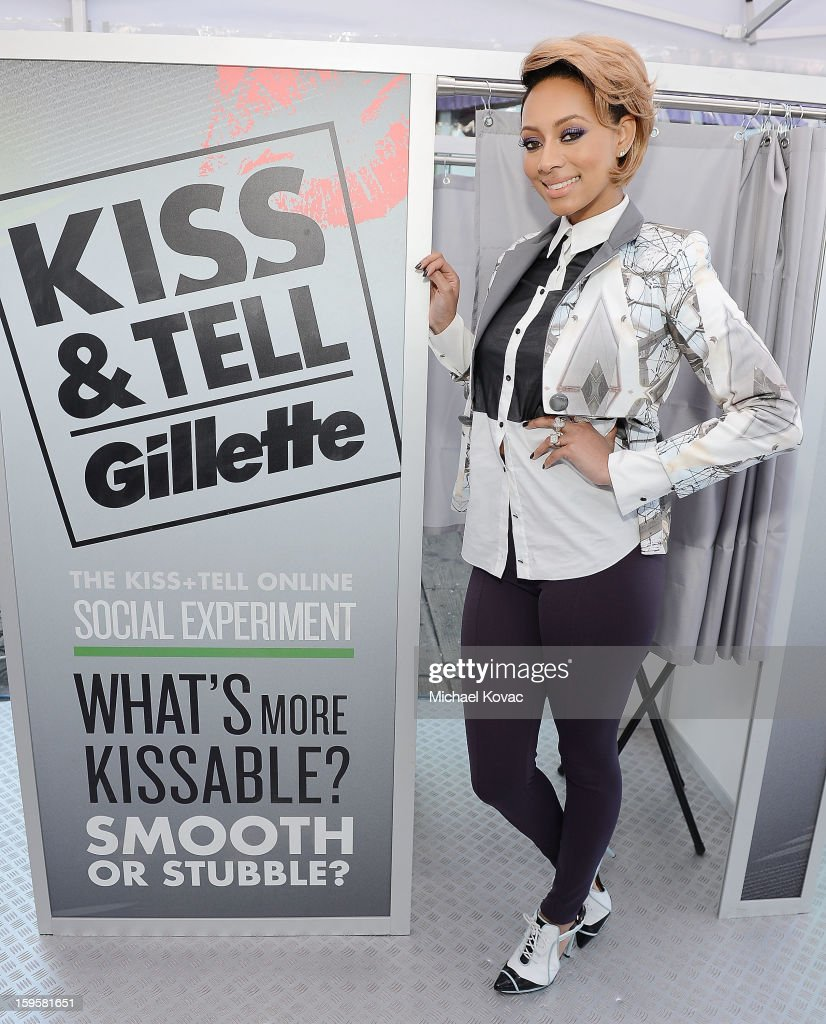 Musician Keri Hilson helps kick off Gillette's 15-city Kiss & Tell Live Experiment at Pacific Park at the Santa Monica Pier by asking women which kiss is best: a kiss with stubble or smooth shaven skin January 16, 2013 in Santa Monica, California.