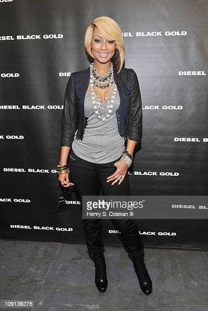 Musician Keri Hilson poses backstage at the Diesel Black Gold Fall 2011 fashion show during Mercedes-Benz Fashion Week at Pier 94 on February 15,...