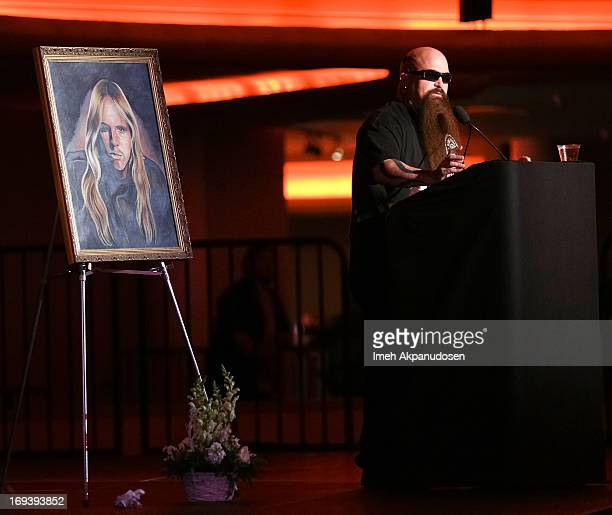 Musician Kerry King of Slayer speaks onstage during the Memorial Celebration For Slayer Guitarist Jeff Hanneman at Hollywood Palladium on May 23 2013...