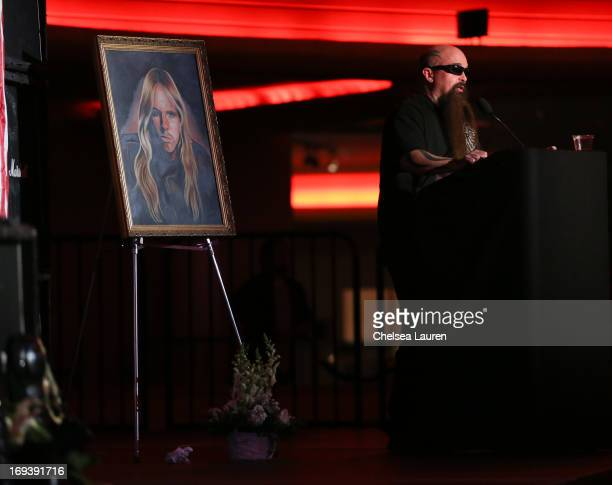 Musician Kerry King speaks at the memorial service for Jeff Hanneman of Slayer at Hollywood Palladium on May 23 2013 in Hollywood California