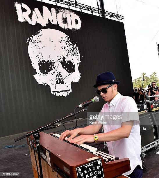 Musician Kevin Bivona performs with Rancid onstage during day 3 of the 2016 Coachella Valley Music Arts Festival Weekend 2 at the Empire Polo Club on...