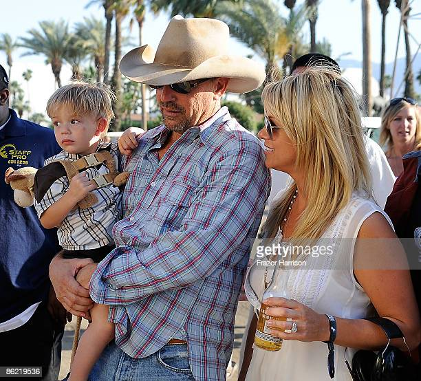 Musician Kevin Costner Christine Baumgartner and son Cayden Wyatt Costner attend day one of California's Stagecoach Country Music Festival held at...