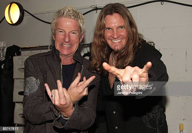 Musician Kevin Cronin and Joel Hoekstra visit Rock of Ages OffBroadway at the New World Stages on November 17 2008 in New York City