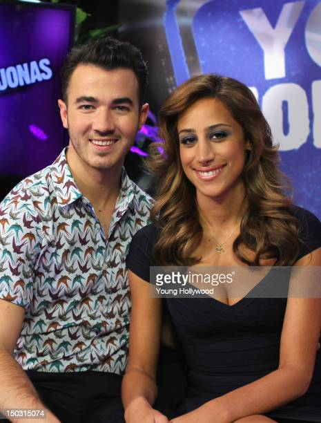 Musician Kevin Jonas and TV personality Danielle Jonas visit the Young Hollywood Studio on August 15 2012 in Los Angeles California