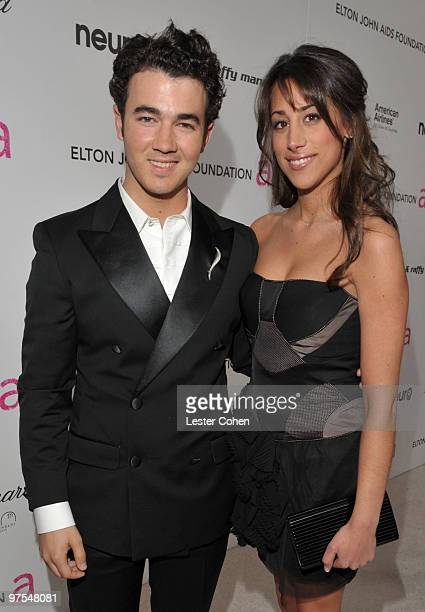 Musician Kevin Jonas and wife Danielle Jonas arrives at the 18th Annual Elton John AIDS Foundation Oscar party held at Pacific Design Center on March...