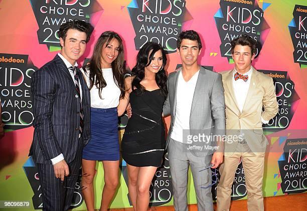 Musician Kevin Jonas, Danielle Jonas, Musicians Nick Jonas, Demi Lovato and Joe Jonas of the Jonas Brothers arrive at Nickelodeon's 23rd Annual Kid's...