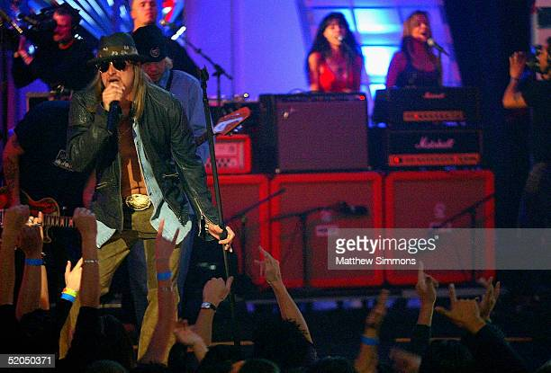 Musician Kid Rock performs during the Spike TV Presents Auto Rox The Automotive Award Show at the Barker Hanger Airport on January 22 2005 in Santa...