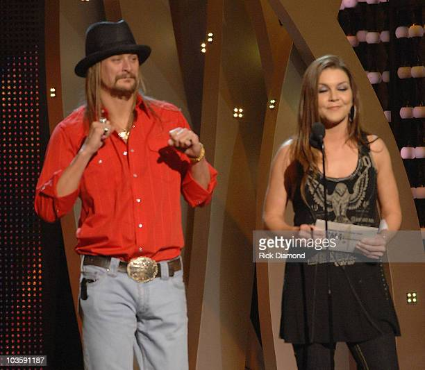 Musician Kid Rock Singer Gretchen Wilson on stage at the 41st Annual CMA Awards at the Sommet Center on November 7 2007 in Nashville TN
