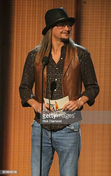 Musician Kid Rock speaks onstage during the 43rd Annual CMA Awards at the Sommet Center on November 11 2009 in Nashville Tennessee