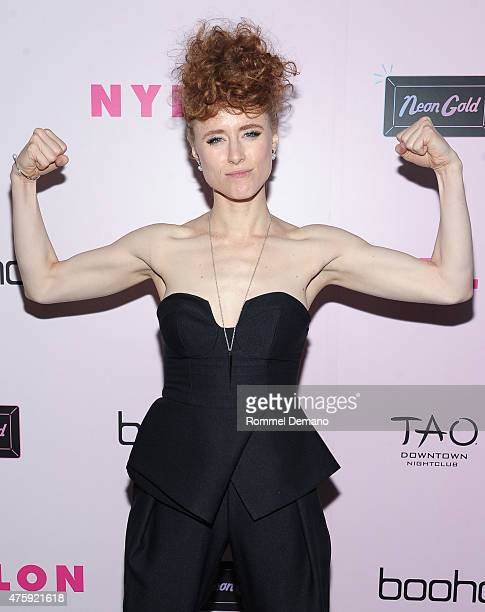 Musician Kiesza attends NYLON and Boohoo Music Issue Party at Dream Downtown on June 4 2015 in New York City