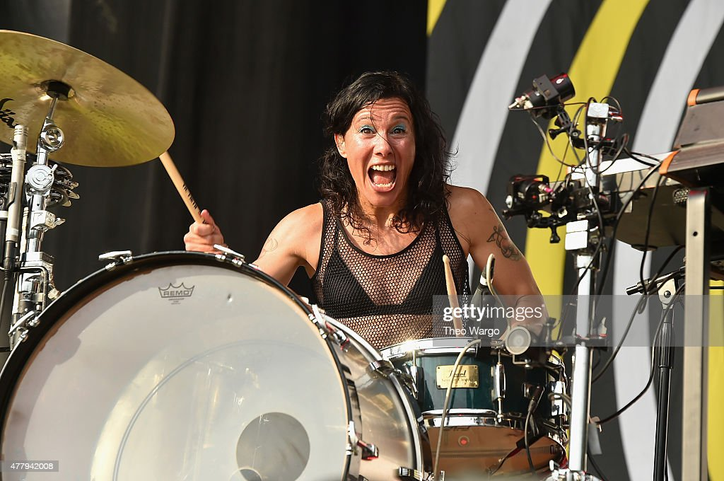 Musician Kim Schifino of Matt and Kim performs onstage during day 3 of the Firefly Music Festival on June 20, 2015 in Dover, Delaware.