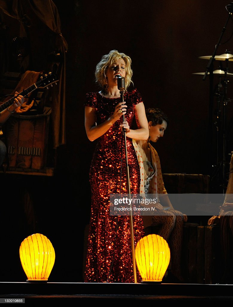 Musician Kimberly Perry of The Band Perry perform during the 45th annual CMA Awards at the Bridgestone Arena on November 9, 2011 in Nashville, Tennessee.