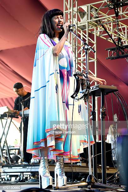 Musician Kimbra performs onstage during day 1 of the 2015 Coachella Valley Music And Arts Festival at The Empire Polo Club on April 17 2015 in Indio...