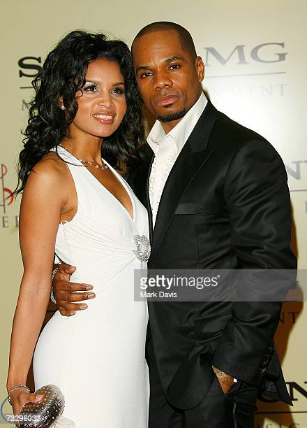 Musician Kirk Franklin and wife arrives at the Sony/BMG Grammy party held at the Beverly Hills Hotel on February 11 2007 in Beverly Hills California