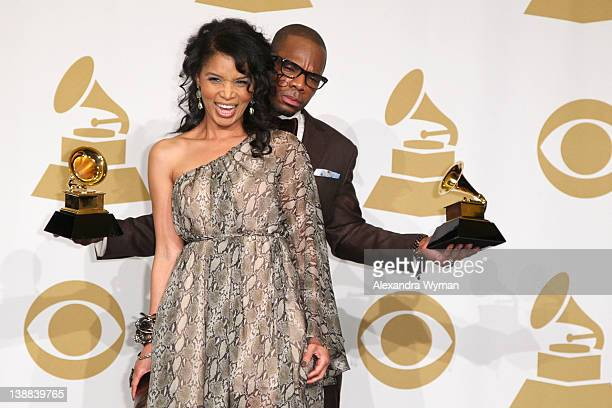Musician Kirk Franklin and wife Tammy Franklin attend The 54th Annual GRAMMY Awards Media Center at Staples Center on February 12 2012 in Los Angeles...