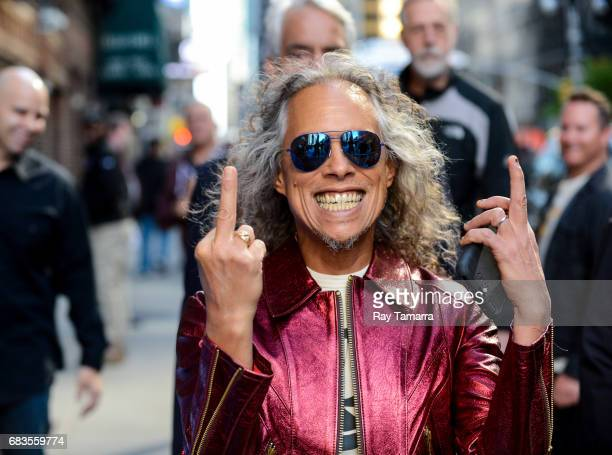 "Musician Kirk Hammett, of Metallica, enters the ""The Late Show With Stephen Colbert"" taping at the Ed Sullivan Theater on May 15, 2017 in New York..."