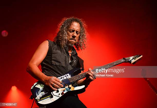 Musician Kirk Hammett of Metallica performs a secret concert in celebration of 'Metallica Through The Never' during Comic-Con International 2013 at...